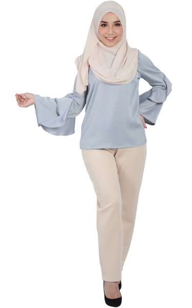 LILAC FRILL SLEEVE BLOUSE - GREY