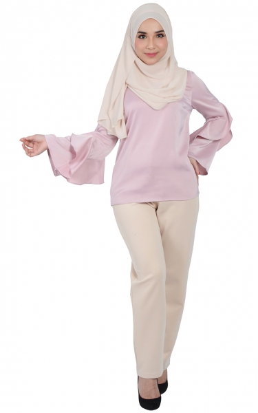 LILAC FRILL SLEEVE BLOUSE - BLUSH