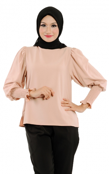 M&N DEORA PUFFY SLEEVE BLOUSE - DAWN PINK