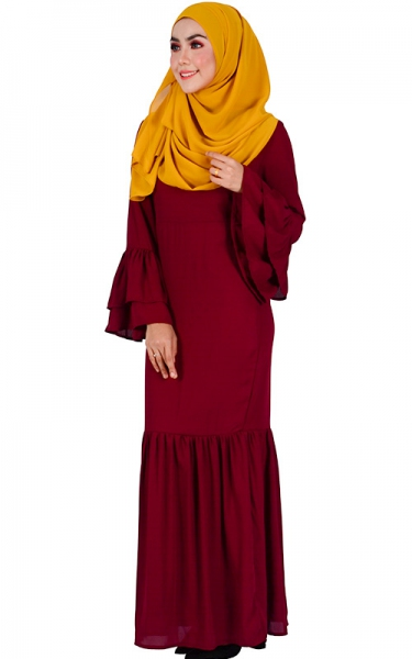 DENISA FLARED SLEEVE CHIFFON MAXI DRESS - MAROON