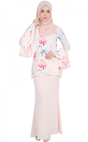 DIYA MODERN BAJU KURUNG SET - LIGHT SALMON