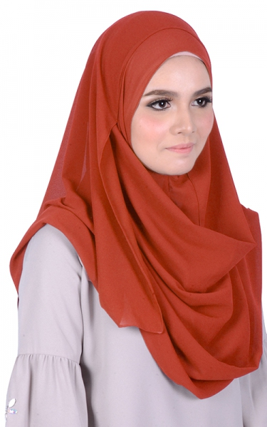 SYAZA INSTANT CHIFFON HEADSCARVES - INDIAN RED