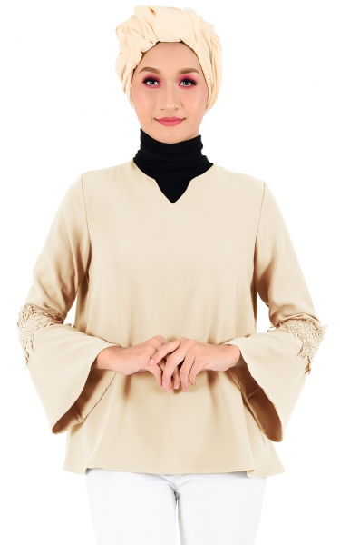 LAUREL LACE SLEEVE BLOUSE - NESCAFE