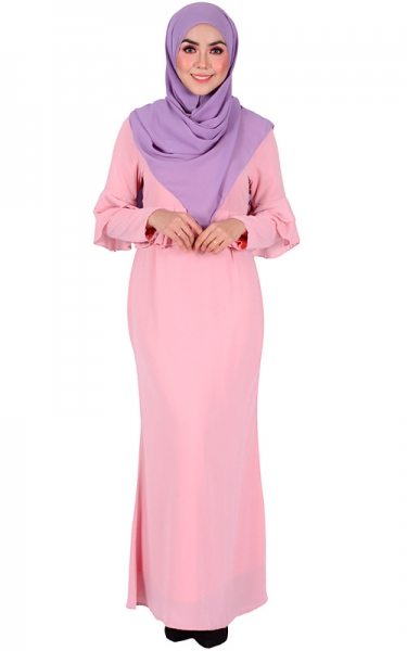 ZENA PEPLUM CHIFFON MAXI DRESS - ICE PINK
