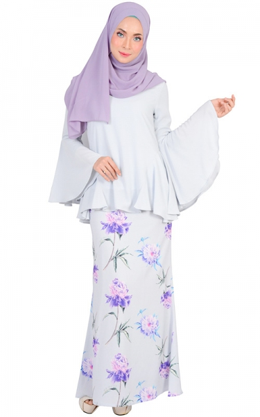 HASNA MODERN BAJU KURUNG SET - BLUE WILLOW