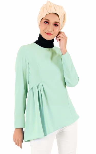 EKA GATHER BLOUSE - MINT GREEN