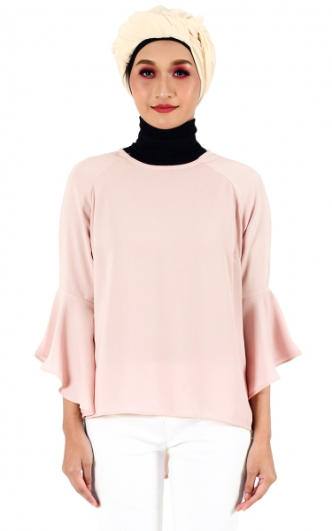 LEETA FLARE BLOUSE - BLUSH