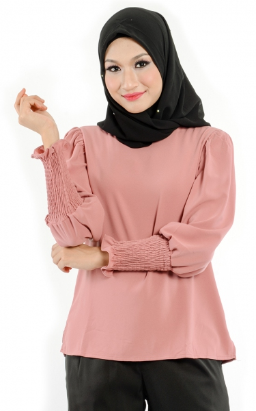 M&N DEORA PUFFY SLEEVE BLOUSE - DECO ROSE