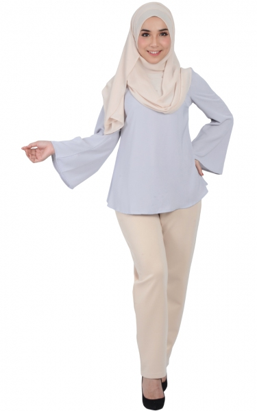 CAMILA TRUMPET SLEEVE BLOUSE - ICE GREY