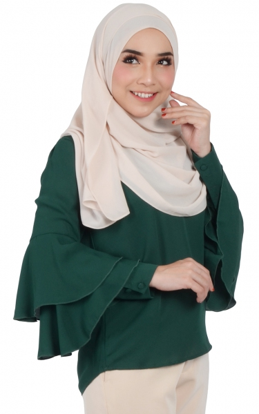 HAYLEE LAYERED CUFF BLOUSE - EMERALD
