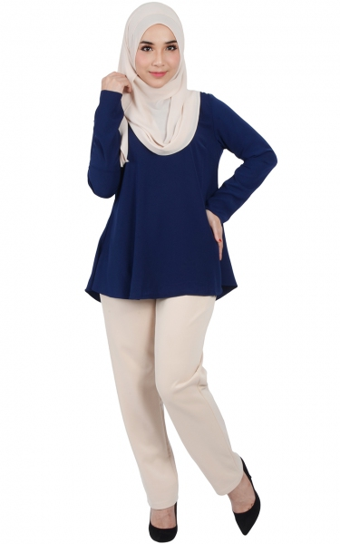 CALLA FLARED BLOUSE - NAVY BLUE