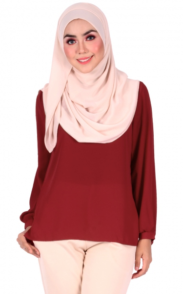 BELVA BUBBLE SLEEVE BLOUSE - DEEP RED