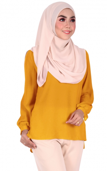 BELVA BUBBLE SLEEVE BLOUSE - MUSTARD
