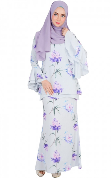 SAFIWAH MODERN BAJU KURUNG SET - BLUE WILLOW