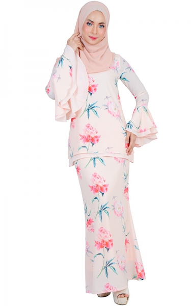 SAFIWAH MODERN BAJU KURUNG SET - LIGHT SALMON