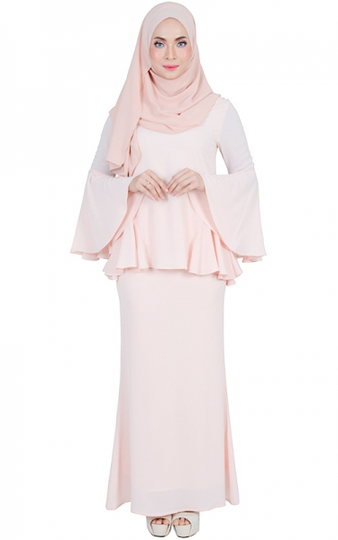 BASHIRA MODERN BAJU KURUNG SET - LIGHT SALMON
